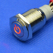 New 16mm Car Boat Red 12V LED Start Button Metal Switch Push ON/OFF fu