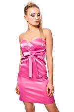 Satin Bandeau Minikleid mit Deko Schleife Pink Gr. L