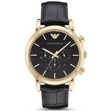 Emporio Armani Dress AR1917 Black Leather Analog Quartz Men's Watch