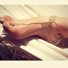 Women Beach Gypsy Multi Chain Tassel Toe Ring Ankle Bracelet Foot Jewelry Anklet