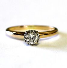 14k yellow gold .32ct round diamond solitaire engagement ring 2.3g womens I2 H