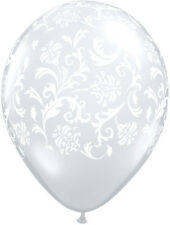 "10 pc- 11"" Clear & White Damask Latex Balloons Happy Birthday Party Wedding Baby"