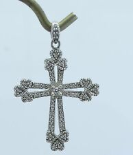 Gorgeous 14K White Gold 1/2CTW Diamond Cross Religious Necklace Pendant B239