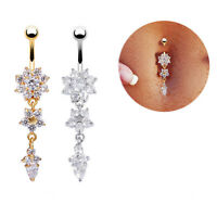 Belly Bars Gold Silver  Crystal Flower Dangle Drop Navel Body Piercing Jewelry