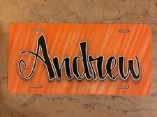 Orange Scribble Airbrush Custom License Plate Personalized w/ Your Name Car Tag