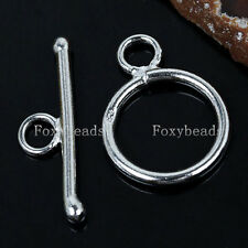 925 Sterling Silver Round Toggle Clasps Jewelry Findings fit Bracelet Necklace F