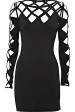 TEMPERLEY LONDON Lattice Jersey Black Body-Con Mini Dress+ Cutouts Sz M EUC