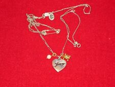 JUICY COUTURE Luxe VINTAGE Heart SKULL Pearl CHARM Safety Pin GEMS Necklace