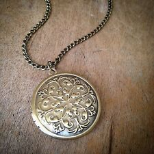 Antique Bronze Round Circle Picture Locket Necklace - Engraved Pendant & Chain