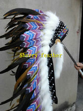 36inch orange Chief indian feather headdress indian war bonnet halloween costume