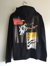RAF SIMONS Black printed hooded sweatshirt Size M RRP £450