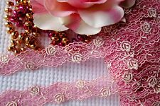 Amazing pink with gold roses embroidery lace trim/ ribbon  - price by the yard