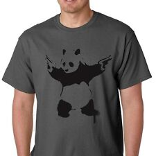 Panda With Guns handgun banksy second amendment graffiti T-Shirt GREY XL
