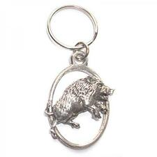 Silver Wild Boar Pig English Pewter Keyring Handmade In England Key Ring New