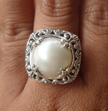 Solid Sterling Silver 925 Balinese Ring White Mabe Pearl Size 8-118L