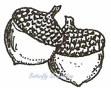 THANKSGIVING Small ACORNS Wood Mounted Rubber Stamp NORTHWOODS A9848 New