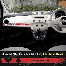Stickers Fiat 500 Fascia Rosso dashboard Abarth for Right Hand Drive RHD