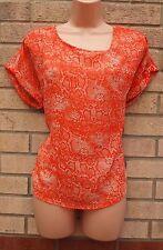 Pavos Reales Naranja Snake Skin sedoso túnica Cami Camiseta Top Blusa T Shirt M L