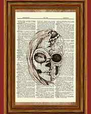 Dia De Los Muertos Gothic Skull Girl Dictionary Art Print Book Monster High