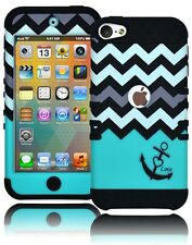 Black Silicone Cover+Teal Chevron & Anchor Hybrid Case for iPod Touch 5, 5th Gen