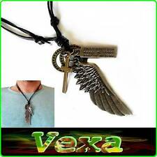 New SURFER Necklace Pendant Angel wing silver Cross Genuine Leather Thong NK07