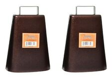 2 PACK STEEL COW BELL Antique Style Copper Finish Cowbell Music Pep Rally Cheer!