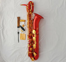 Professional Red Lacquer Baritone saxophone Engraving Dragon Sax Engraving Bell