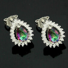 Sterling Silver Cubic Zirconia Micro Pave Set Pear Shape Mystic Topaz Earrings