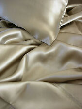 4 pc 100% silk charmeuse sheets set Queen Taupe $600 by Feeling Pampered