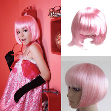 Sexy Lady Women Full Bangs BOB Hair Short Straight Wig Pink Party Cosplay Wigs