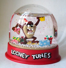 "Vintage ""Looney Tunes"" Taz in Santa Hat Snow Globe Oval Waterball #119"