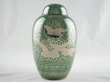 Going Home Adult Funeral Cremation Urn, Solid Brass, Green Finish, Free Shipping