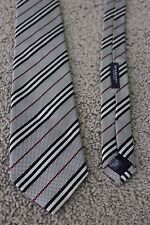 EUC Men Burberry London black/red stripe/plaid silk 59'' neck tie