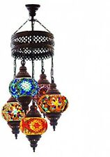 Turkish Authentic 5 Globe Mosaic Chandelier Lamp Moroccan Lantern Satined Glass