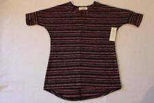NEW Girls Top Large 10 - 12 Pink Black Stripe Short Sleeve High Low Shirt School