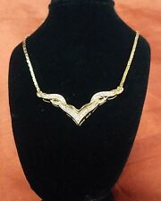"14k Solid Gold Fancy V Bar Full set Diamond Pendant and  Chain 18"" Long. ."