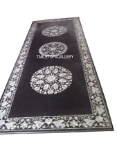 2.5'x5' Rectangle Black Marble Dining Table Mother of Pearl Inlay Art Deco H3021
