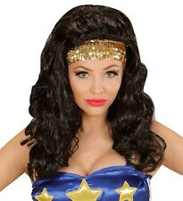Ladies Wonder Woman Wig Super Hero Girl Lady American Fancy Dress