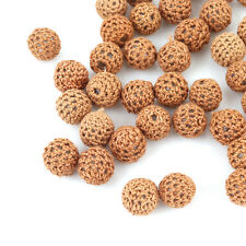 100pcs Hollow Brown Knitting Wool Acrylic Spacer Bead Fit Jewelry DIY Carfts C