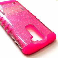 For LG K7 / Tribute 5 -Hybrid Impact Armor Kickstand Case Hot Pink Clear Glitter