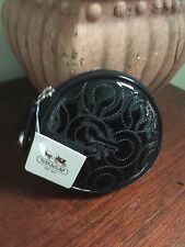 Coach Gramercy Op Art Patent Leather Signature Round Coin Purse 44471 Black W6
