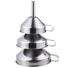 3 Piece Funnel Set Stainless Steel  Kitchen Durable Material