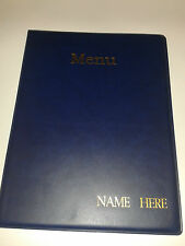 Ten (10) A4 MENU FOLDERS IN BLUE WITH YOUR BUSINESS NAME EMBOSSED IN GOLD