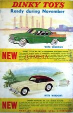 1958 Dinky Toys ADVERT AC Aceca Coupe, Studebaker Golden Hawk - Vintage Print AD
