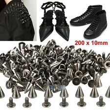 200 x 10mm Black Spots Cone Screw Metal Studs Leathercraft Rivet Bullet Spikes