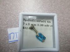 BEAUTIFUL BLUE SWISS TOPAZ EMERALD CUT STERLING SILVER PENDENT ONLY GORGEOUS
