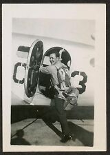 WWII Navy Sailor w Parachute Boards Lockheed Electra Airplane