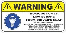 WARNING, NOXIOUS FUMES Funny Car Sticker Decal for Visor or Dash