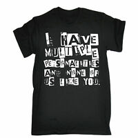 MULTIPLE PERSONALITIES AND NONE OF US LIKE YOU T-SHIRT * FUNNY DISORDER MPD TEE