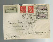 1930 Angers France Airmail Cover to Hungry Pair #B16 Antwerp Cinderella